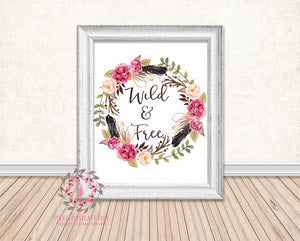 Wild & Free Tribal Boho Watercolor Floral Printable Print Wall Art Home Decor