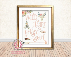 Wild Heart Gypsy Soul Blush Boho Tribal Arrow Teepee Bull Skull Nursery Baby Girl Room Printable Print Wall Decor