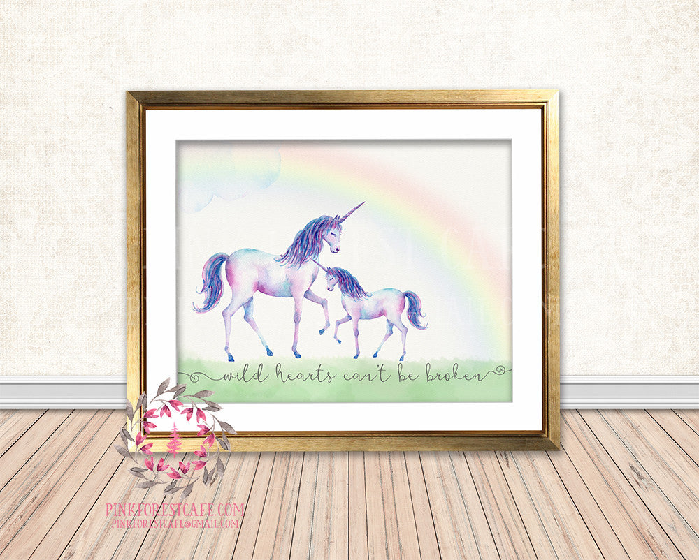 Unicorn Wild Hearts Can't Be Broken Baby Girl Boho Room Watercolor Printable Wall Art Nursery Print Decor