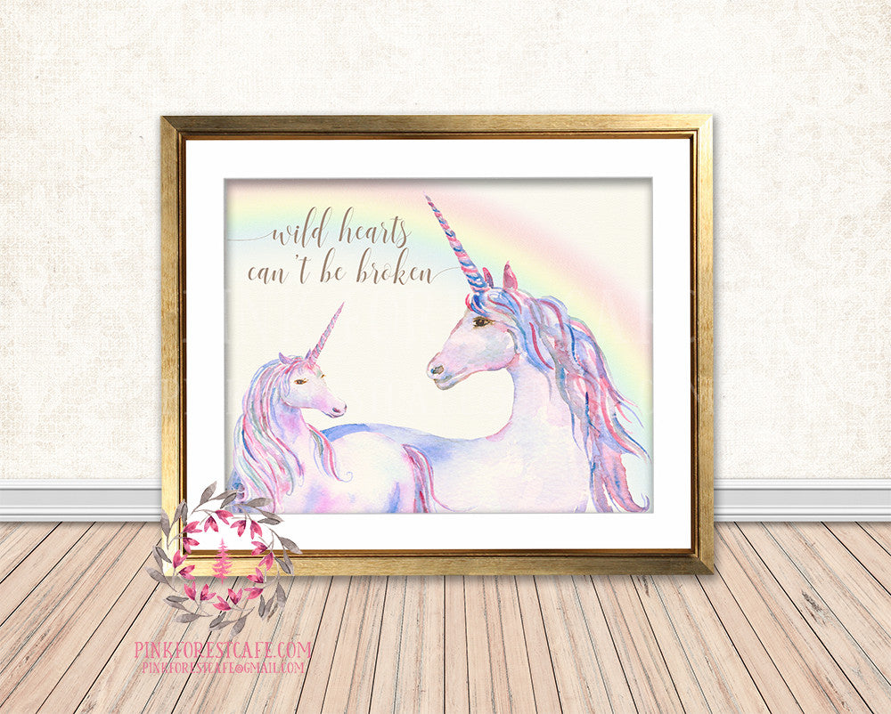 Unicorn Rainbow Wild Hearts Can't Be Broken Baby Girl Boho Room Watercolor Printable Wall Art Nursery Print Decor