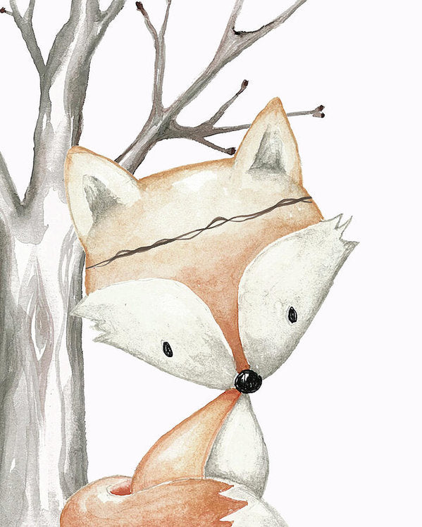 Woodland Fox Boho Baby Nursery Decor Boy Girl Wall Art Print Poster