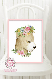 Boho Bear Woodland Animal Printable Wall Art Watercolor Print Baby Girl Nursery Watercolor Floral Decor