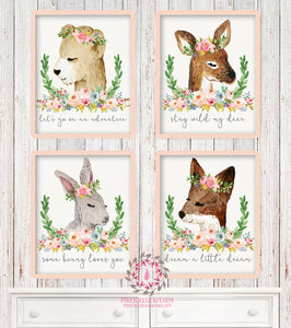 4 Deer Fox Bunny Rabbit Bear Woodland Boho Printable Print Wall Art Watercolor Bohemian Floral Nursery Baby Girl Room Set Lot Prints Home Decor