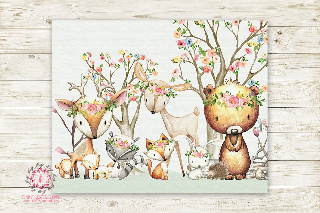 Woodland Animals Wall Art Print Boho Deer Bunny Fox Bear Hedgehog Bohemian Watercolor Baby Girl Nursery Printable Decor