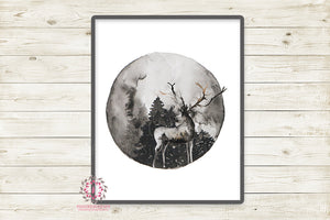 Deer Antlers Woodland Boho Printable Wall Art Print Baby Nursery Room Watercolor Decor
