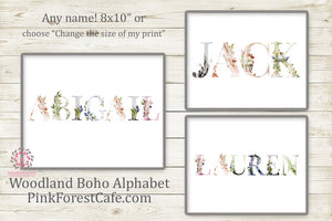 Ethereal Baby Kids Boy Girl Name Boho Woodland Wall Art Print Baby Nursery Wolf Deer Fox Floral Rustic Printable Decor