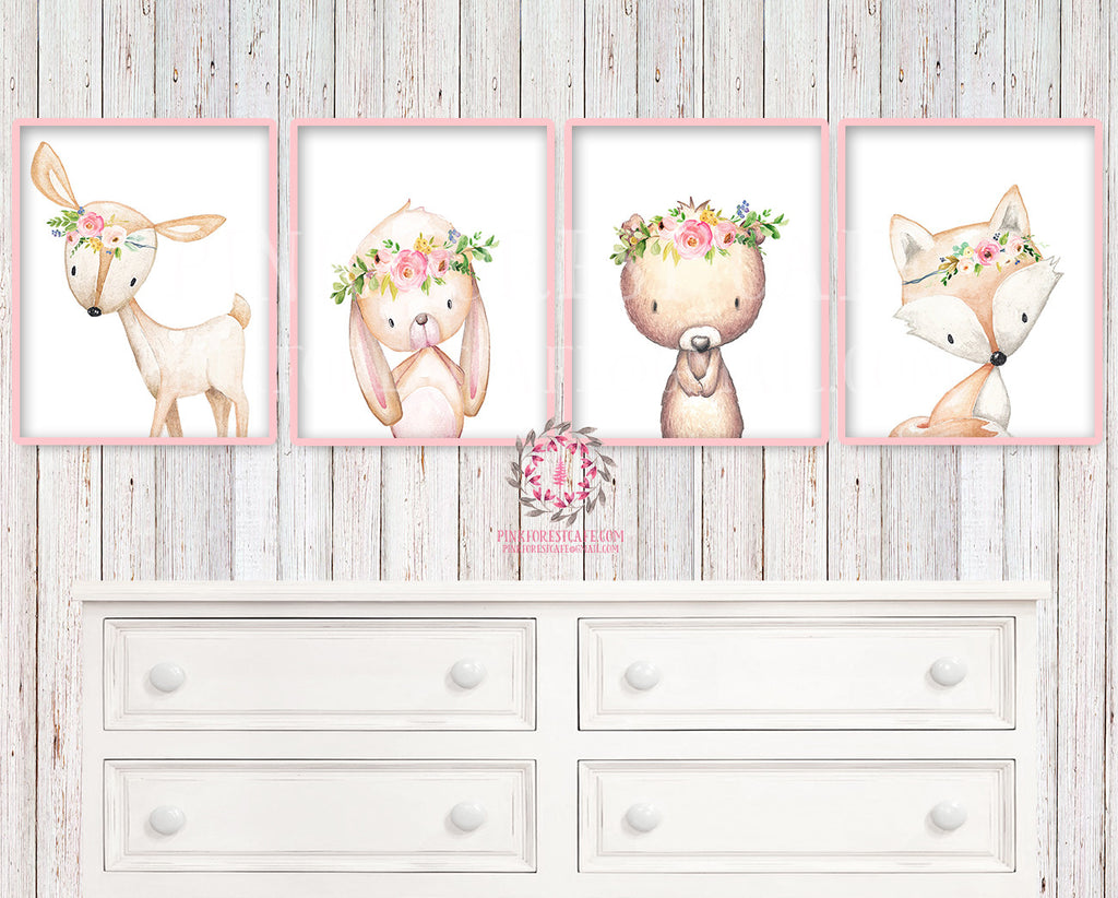 4 Deer Fox Bunny Rabbit Bear Woodland Boho Wall Art Print Nursery Set Bohemian Floral Nursery Baby Girl Room Prints Printable Home Decor