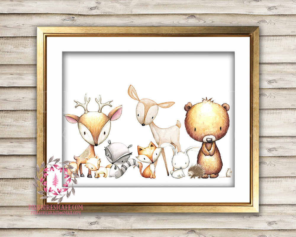 Fox Deer Bunny Rabbit Bear Mouse Squirrel Raccoon Watercolor Woodland Boho Nursery Baby Room Printable Print Wall Art Decor