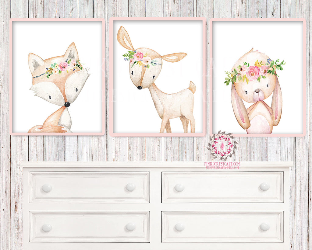 3 Deer Fox Bunny Rabbit Woodland Boho Bohemian Floral Nursery Baby Girl Room Set Lot Prints Printable Print Wall Art Home Decor