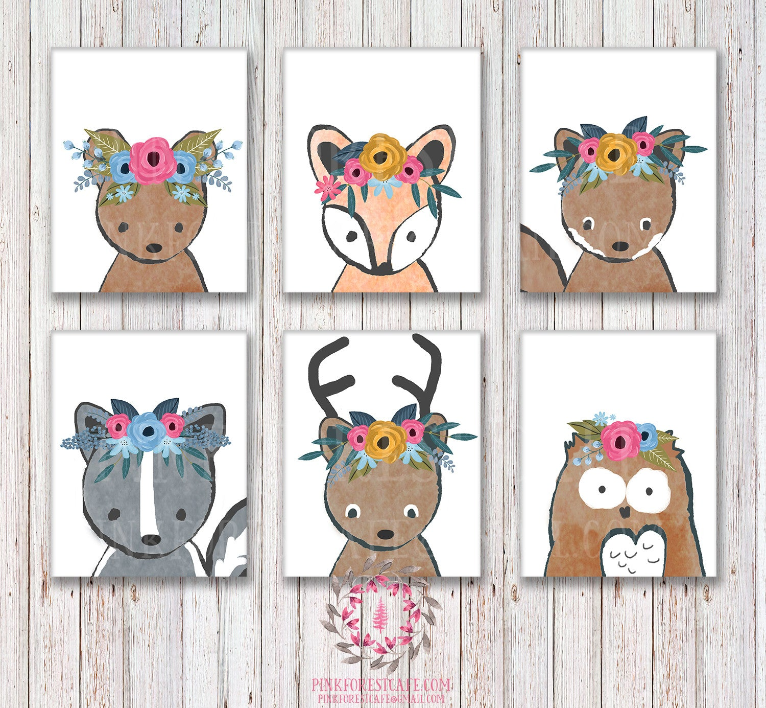 Lot of 6 Woodland Boho Bohemian Floral Nursery Baby Girl Room Prints Printable Print Wall Art Decor