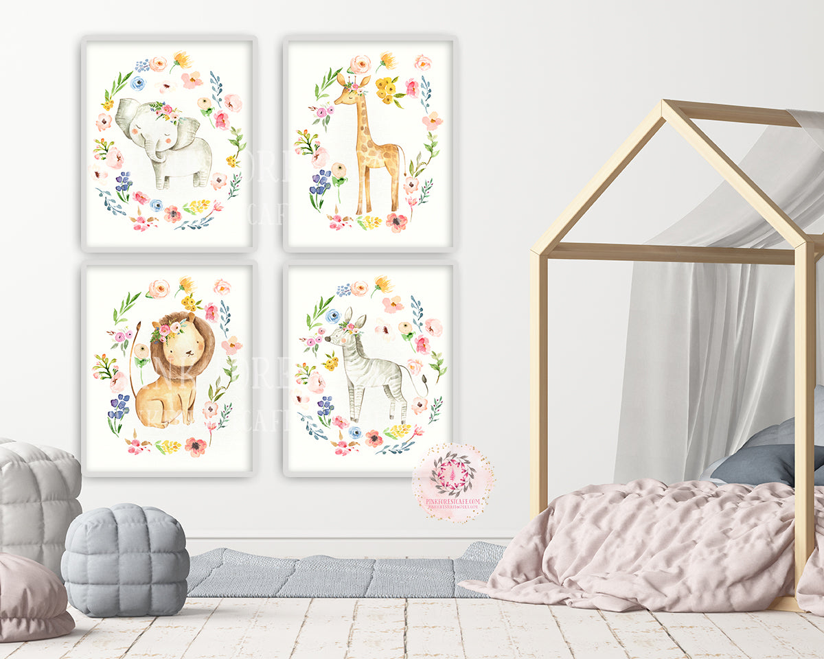 4 Boho Zoo Elephant Giraffe Wall Art Print Safari Floral Zebra Lion Watercolor Bohemian Blush Nursery Baby Girl Room Printable Decor