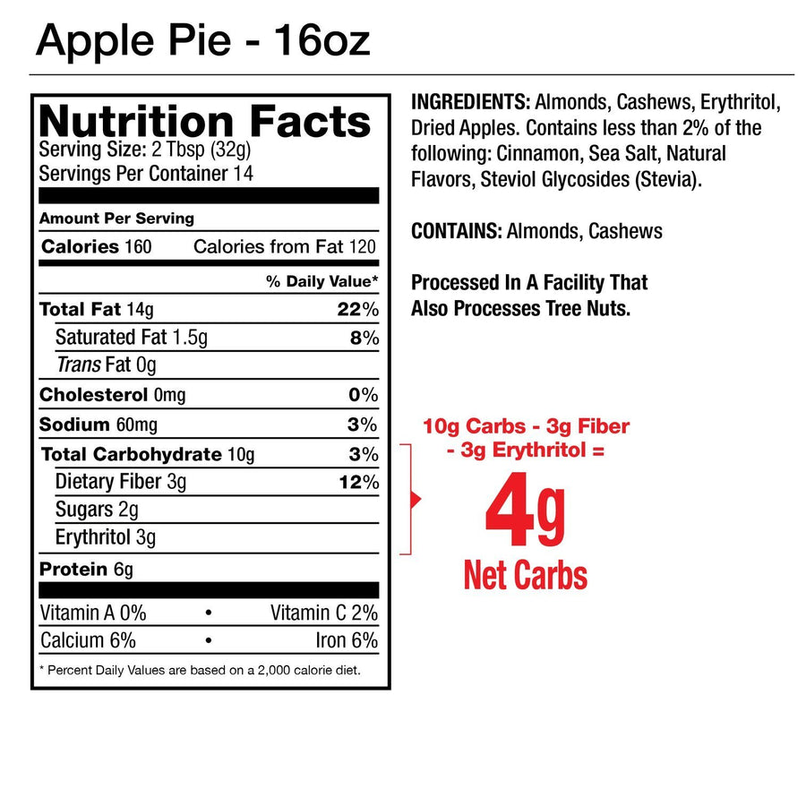 Apple Pie Almond & Cashew Nut Butter 1oz - 10 packets