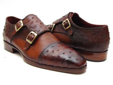 Paul Parkman Brown & Tobacco Genuine Ostrich Double Monk Straps - foodgles-supermarkets