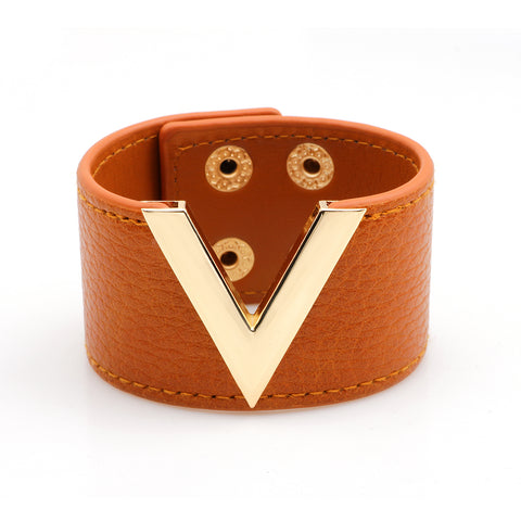 Genuine Leather V Cuff Bracelet - foodgles-supermarkets