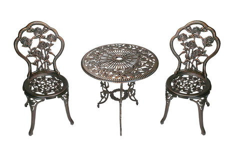3-Piece Outdoor Antique Bronze Finish Bistro Set - foodgles-supermarkets