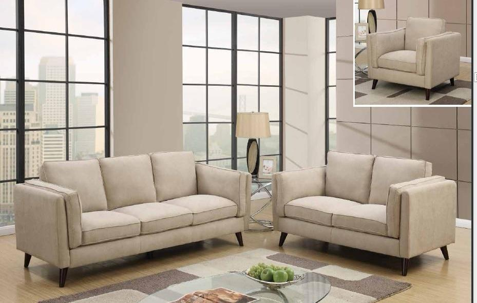 Contemporary 3 Piece Beige Microfiber Sofa Set Foodgles Marketplace