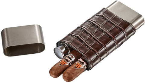 Hacienda Crocodile Patterned Leather and Stainless Steel Cigar Case Flask Combo