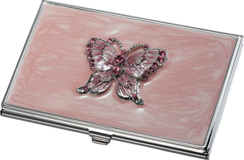 Women's Pink Lacquer Butterfly Business Card Case - foodgles-supermarkets
