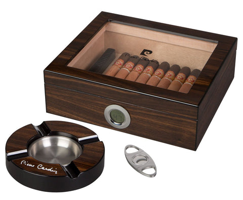Pierre Cardin Bastrop Glass Top Cigar Humidor Gift Set - foodgles-supermarkets