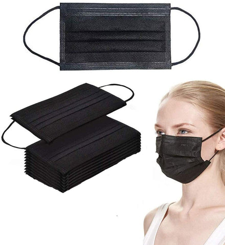Black 3-Layer Heavy Duty Disposable Protective Masks (10 pack) - foodgles-supermarkets
