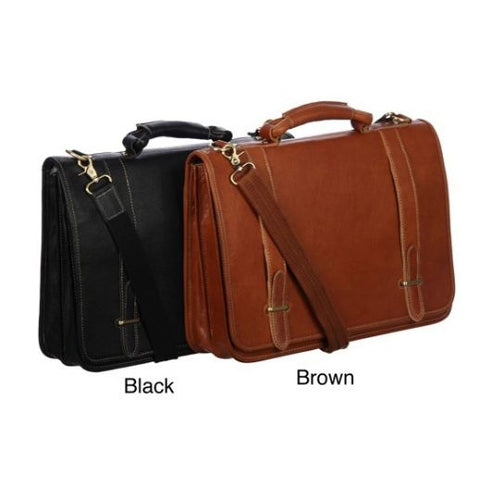 Top Grain Leather Double Slip-In Executive Briefcase - foodgles-supermarkets
