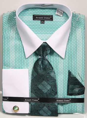 Avanti Uomo French Cuff Varied Stripe Dress Shirt - foodgles-supermarkets