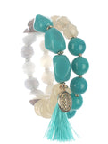2 Piece Natural Stone & Glass Bead & Tassel Bracelet - foodgles-supermarkets