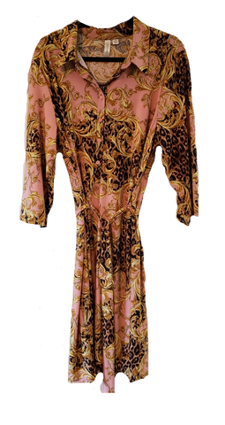 Beautiful Gold & Pink Leopard Jacquard Print Dress - foodgles-supermarkets