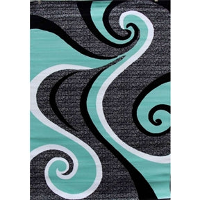 Modern Abstract Area Rug with Black Turquoise Swirl 5'2 x 7'2 - foodgles-supermarkets
