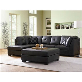 Black Bonded Leather Sectional Sofa with Left Side Chaise - foodgles-supermarkets