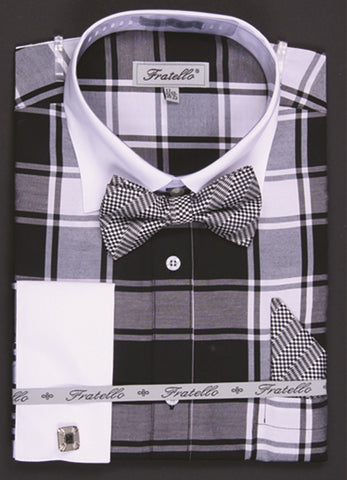 Fratello Shirt With Bow Tie + Hankie + Cuff Links
