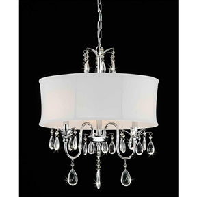 Chrome Crystal Chandelier with Fabric Shade - foodgles-supermarkets