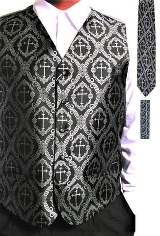3-Piece Clergy Cross Print Vest With Tie + Hankie - foodgles-supermarkets