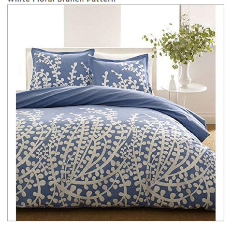 Twin size 100-percent Cotton Comforter Set with Blue White Floral Branch Pattern - foodgles-supermarkets