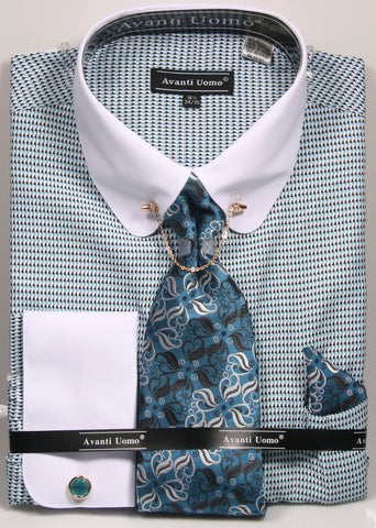 Avanti Uomo Dress Shirt Set With Tie+Hankie+Cuff Links and Tie Bar w/Chain - foodgles-supermarkets