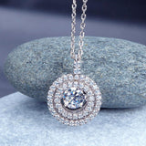 Double Halo Dancing Stone Pendant Necklace - foodgles-supermarkets