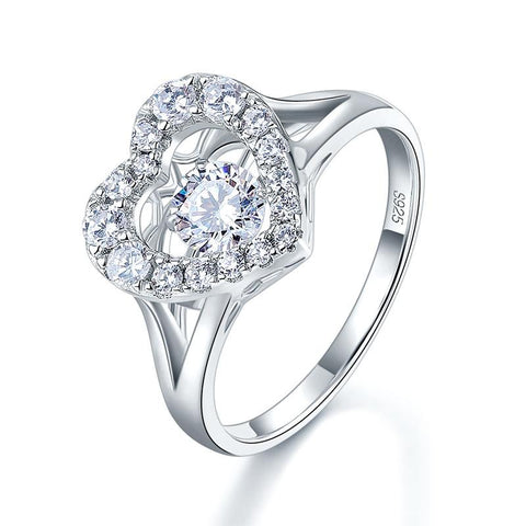 CZ Heart Shaped Dancing Stone Ring - foodgles-supermarkets