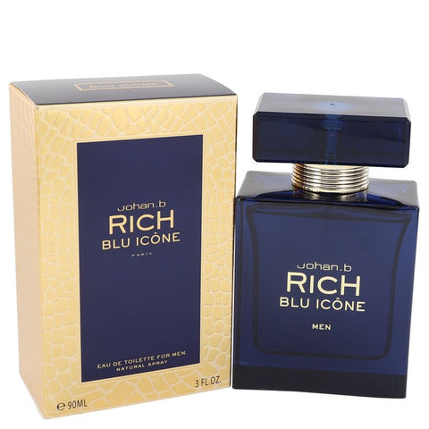 Rich Blu Icone by Johan B Eau De Toilette Spray 3 oz for Men - foodgles-supermarkets