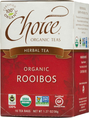 Choice Organic Teas: Organic Rooibos Herbal Tea 16 Tea Bags, 1.27 Oz - foodgles-supermarkets