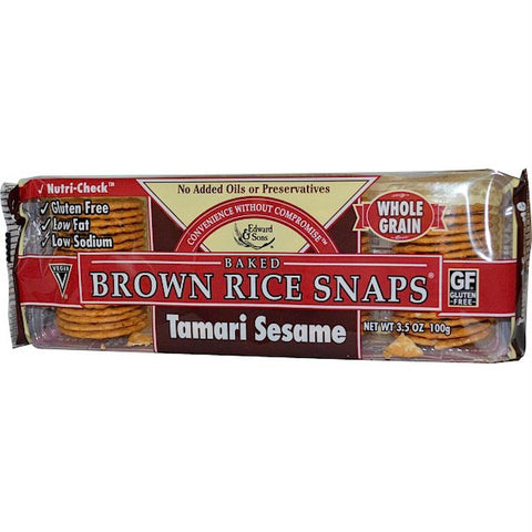 Edward & Sons: Brown Rice Snaps Tamari Sesame, 3.5 Oz - foodgles-supermarkets