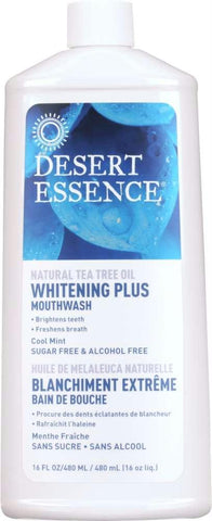 Desert Essence: Natural Tea Tree Oil Whitening Plus Mouthwash Cool Mint, 16 Oz - foodgles-supermarkets
