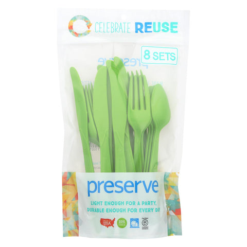 Preserve Heavy Duty Cutlery - Apple Green - 8 Sets 24 Pieces Total - foodgles-supermarkets