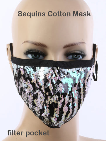 Designer Style Animal Print Sequin Face Mask - foodgles-supermarkets