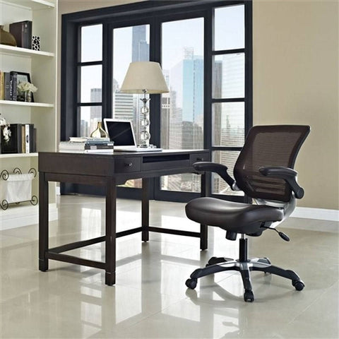 Modern Dark Brown Mesh Back Ergonomic Office Chair with Flip-up Arms