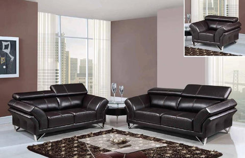 3 Piece Walnut Leather Sofa+Love Seat+Chair With Adjustable Headrest - foodgles-supermarkets