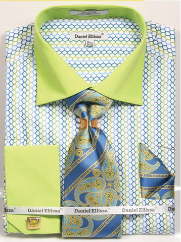 Daniel Ellissa Colorful Weave Pattern French Cuff Shirt Set - foodgles-supermarkets
