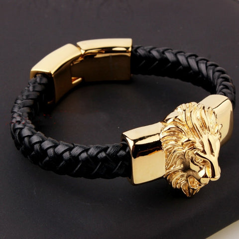 Leather & Gold 316L Stainless Steel Lion Head Bracelet - foodgles-supermarkets