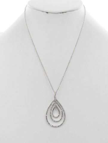 Teardrop Crystal Pave Necklace - foodgles-supermarkets