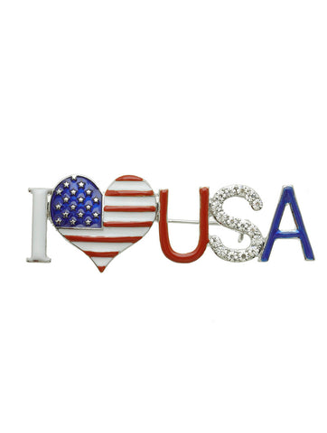 I Love USA Brooch