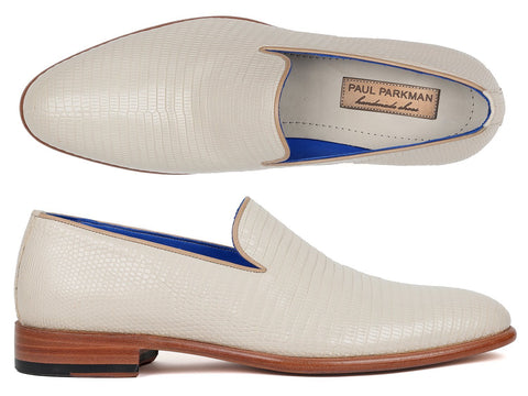 Paul Parkman Handmade Genuine Iguana Loafers In Cream - foodgles-supermarkets